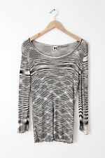 M Missoni knit blouse, long sleeve black and white scoop neck rayon sweater sz L
