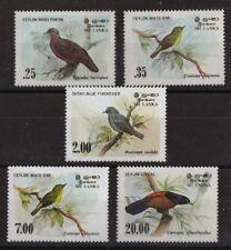 Uccelli di Ceylon Set di 5 MNH Francobolli 1983 88 Sri Lanka # 691-4, 877