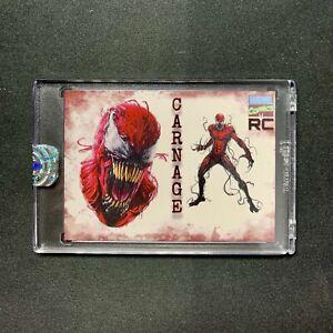 Marvel Artist Custom Sketch CARNAGE CLETUS KASADY RC Rookie Card INCLUDES CASE