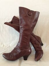 Clarks Maroon Knee High Leather Boots Size 6D