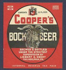 Cooper's Bock Beer bottle label Irtp, Liebert & Obert Philadelphia, Pa 1930s-40s
