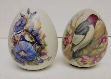 Glenda Turley Hand Painted Porcelain Bisque Egg Eggs Set of 2 Birds Floral '99