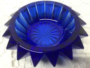 Blue Vaseline art glass salt cellar dip candle holder uranium cobalt celt glows