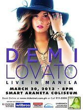 """DEMI LOVATO """"LIVE IN MANILA 2013"""" PHILIPPINES CONCERT POSTER - Sexy Pop Princess"""