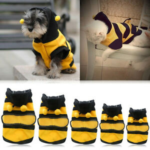 Bee Pet Puppy Coat Apparel Outfits Fleece Clothes Dog Cat Hoodie Costume XS~XL