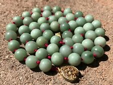 """Estate Old Chinese 9mm Light Green Jade Bead Knotted Necklace 24.5"""""""