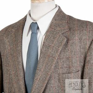 BROOKS BROTHERS Camel Hair Sport Coat 46 R in Taupe Chestnut Brown Glen Plaid