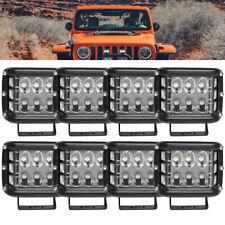 8PC 4 inch LED Light Bar Cube Side Shooter Pods Light Spot Flood Beam Lights