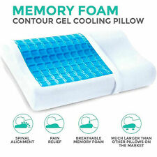 Cooling Gel Memory Foam Pillow Head Back Spine Support Air Cool Contour Snoring