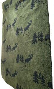 "Woolrich Home Throw Blanket Northwoods Moose 50"" x 68"" - Hunter Green"