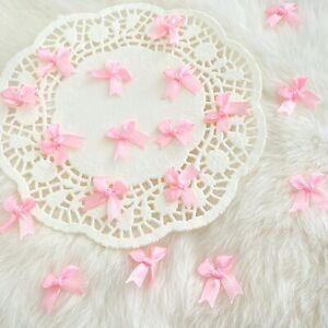 Tiny Pink Bows Satin Bows Craft Sewing Handmade Fabric Bows Baby Pink Applique