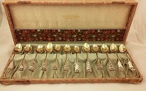 "Gorham Hamburg Sterling Silver 4-1/2"" Demitasse Spoons, Set of 12 in Box"