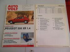 AUTO VOLT PEUGEOT 306 XR 1.4  (FICHES ET SCHEMAS PLASTIFIES)