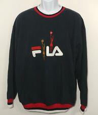 Vintage FILA Crewneck Sweatshirt XL Blue Graphic Big Logo Cotton Italy