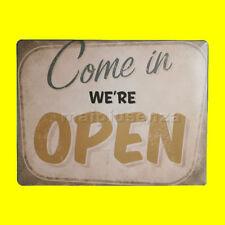 """Targa in Metallo """"Come in We're open"""" Stile Vintage Retrò x Casa Pub Bar Negozio"""