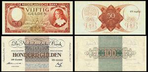 !COPY! NETHERLANDS 50 GULDEN 1945 + 100 GULDEN 1945 BANKNOTES !NOT REAL!