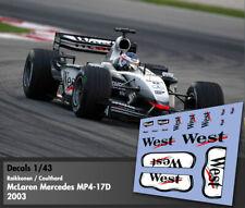 Decals 1/43 - F1 - Raikkonen / Coulthard - McLaren Mercedes MP4/17D - West