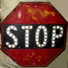Antique 1930's Yellow Stop Sign w Cats Eye (SMALL REFLECTORS) All Original