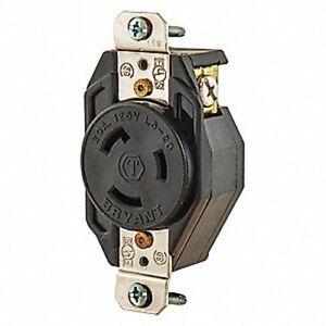 Bryant 70520FR Single Twist Lock Receptacle NEMA L5-20R, 20A, 125V, Black