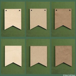 Wooden swallow tail bunting flag, vee cut plaques, blanks for crafts and signs