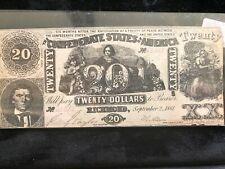 Confederate Currency 1861 Twenty Dollar T -20