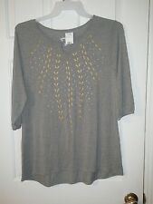 NWT JUST MY SIZE Shirt Casual Gray Geometric Design Womens Size 1X