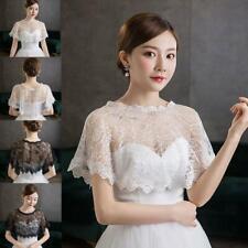 Women Floral Lace Shawl Wrap Wedding Bridal Bolero Cover Up Tulle Shrug Cape