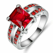 Size  6 Ruby CZ Engagement Ring Wedding Band 10KT White Gold Filled