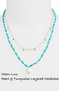 Chan Luu Pearl & Turquoise Layered Necklace, NWT $245