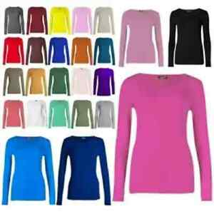 Womens Ladies Long Sleeve Stretch Plain Round  Neck Scoop T-Shirt Top Assorted