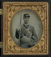Photo Civil War Union Soldier In Uniform With Musket Pistol Knife and Canteen