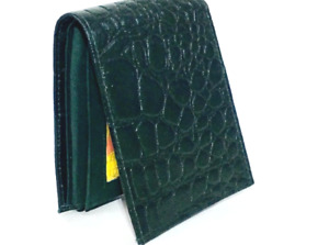 Men's Green Crocodile Faux Skin Bi-Fold Leather Wallet,Photo ID,Zipper