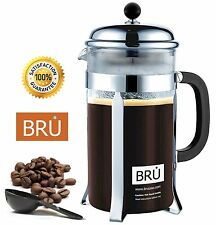 Classic French Press ~ BRU Coffee & Tea Maker with DOUBLE Screen Filter