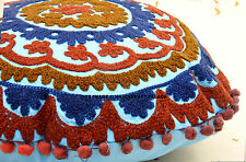 INDIAN SUZANI EMBROIDERED ROUND PILLOW CUSHION COVER DECORATIVE COTTON THROW 16""