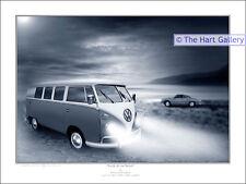 VW Volkswagen Split Screen Camper Van & Karmann Ghia Classic Car Print Picture