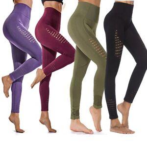 Ladies Yoga Sports Running Seamless Leggings Tummy Control Compression Gym Tight