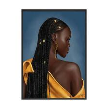 African Art, Black Girl, Woman Portrait Painting on Canvas Print Wall Art Pictur