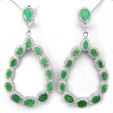 Große Ohrringe Smaragd & CZ 925 Silber 585 Weißgold vergoldet