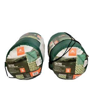 Ozark Trail YOUTH  kids Camping Sleeping Bag Cactus Design Green set of 2