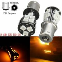 2Pcs 18 SMD 5050 LED 581 BAU15S 1156 PY21W Clignotant Ampoule Orange Ambre Auto