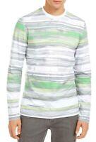 Alfani Mens T-Shirt Classic White Size XL Striped Print Crewneck $55- 469