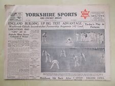 VINTAGE NEWSPAPER YORKSHIRE SPORTS & CRICKET ARGUS JULY 10th 1948 FINAL PINK