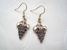 Pale Rose Gold BUNCH OF GRAPES Wine Rhinestone Drop Earrings Vintage Style GIFT