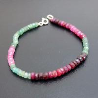 Handmade Hammered Natural Emerald & Ruby Bracelet 925K Sterling Silver