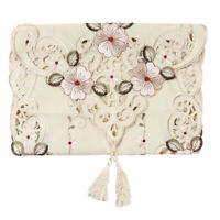 Table Runner Tablecloth Embroidery Floral Tassel Polyester Cover Banquet Decor D