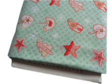 FQ Christmas Fabric Joy Love Peace star tree heart snowflake red craft cotton
