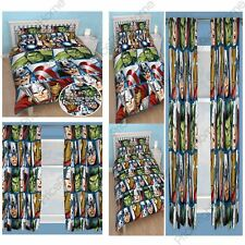"""AVENGERS SHIELD DOUBLE ROTARY DUVET COVER SET & MATCHING 54"""" OR 72"""" CURTAINS NEW"""