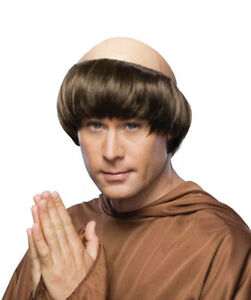 New Rubie's MONK WIG Adult Men's Costume Halloween Bald Brown Hair Theater