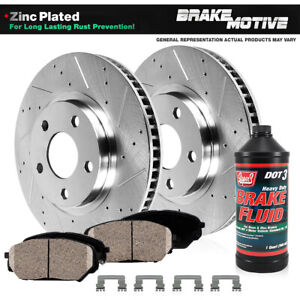 For Hyundai Santa Fe Kia Sorento Front Drill Slot Brake Rotors + Ceramic Pads