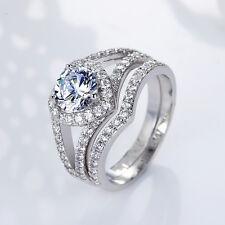 925 Silver Gorgeous Heart Shape White Sapphire Women Wedding 2pc Ring Size 10